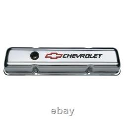 PROFORM 141-899 Chrome Short Valve Covers withRed & Blk Emblem for 58-86 SB Chevy