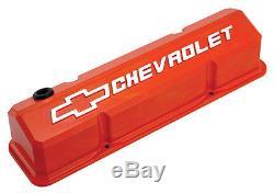 Proform 141-924 Slant Edge Valve Covers Small Block Chevy Orange Cast Aluminum