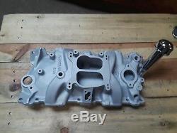 Retro Oil fill tube Edelbrock 4bbl aluminum350 Intake Manifold sbc 5.7camaro z28
