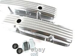 SBC Chevy 350/383 Short Retro Style Finned Valve Cover Aluminum E41002P