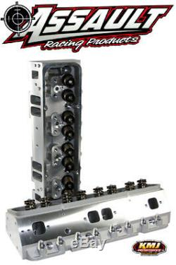 SBC Chevy 350 Aluminum Cylinder Heads Complete 200cc Angle Plug With 3/8 Studs