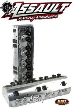 SBC Chevy Aluminum Cylinder Heads Complete 205cc 64 AP. 550 Springs 3/8 Studs