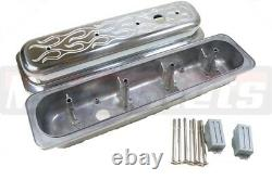 SBC Chevy Polish Aluminum Valve Cover Flame Center Bolt Vortec 350 305 Short 5.0