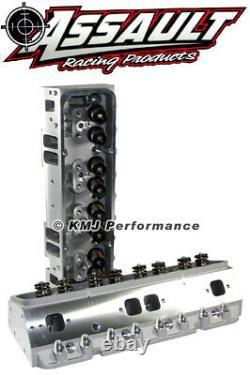 SBC Complete Aluminum Cylinder Heads Straight Plug 205cc. 550 Springs 3/8 Studs