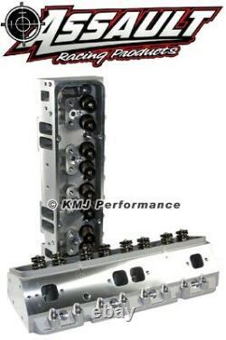 SBC Complete Aluminum Cylinder Heads Straight Plug 205cc Max. 650 Lift 3/8 Studs