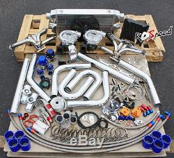 SBC SMALL BLOCK CHEVY TWIN TURBO KIT STAINLESS STEEL MANIFOLD 57mm T04E 400+ HP