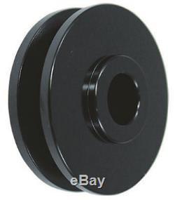 SBC Small Block Chevy 2 / 3 Groove Black Steel Short Water Pump Pulley Kit 350