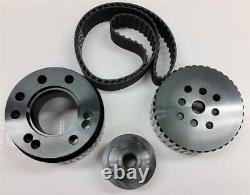 SBC Small Block Chevy Gilmer Belt Drive Pulley Set Black LWP 283-400 BONUS Belt