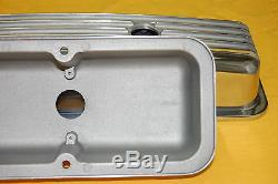 SBC Small Block Chevy Polished Aluminum Valve Covers Short Finned 350 383 305