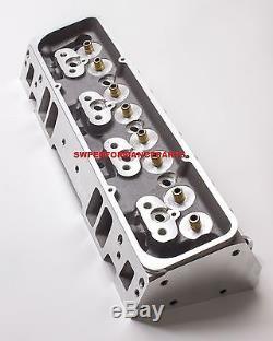 SBC Small Block Chevy Straight Plug Aluminum Cylinder Head Set 64cc 2.02/1.60