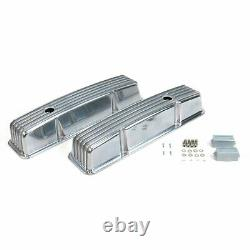 SB Chevy 15 Finned AC Engine Dress Up Kit Tall Valve Covers Breathers 283 350
