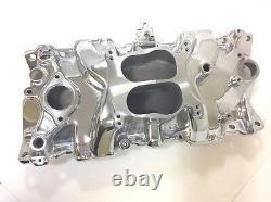 SB Chevy Aluminum Intake Manifold Spread Bore SBC 55-86 305 327 350 V8 Polished