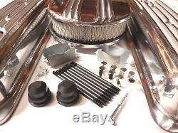SB Chevy Polished Aluminum Finned Short Center Bolt Valve Covers With Air Cleaner