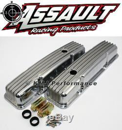 SB SBC 327 350 Retro Small Block Chevy Finned Aluminum Short Style Valve Covers