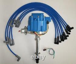 SMALL BLOCK CHEVY BLUE HEI Distributor & 8mm SPARK PLUG WIRES over valve covers
