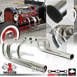 SS Exhaust Header Manifold for Chevy Small Block SBC T-Bucket Roadster Hood-Less