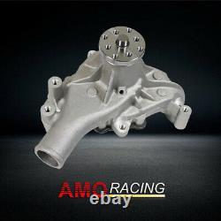 Satin Aluminum Long Water Pump High Volume Fits Small Block Chevy 283 305 350