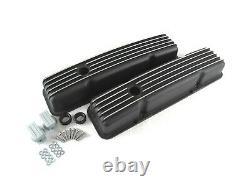 Small Block 327 350 Chevy SBC Short Black Finned Valve Cover Kit BPE-2006B