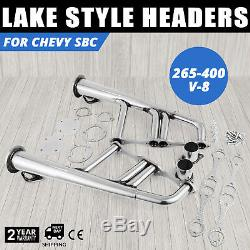 Small Block 4-1 Lake Style Stainless Steel Exhaust Header Kit for Chevy 265-400