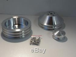Small Block Chev Pulley Kit 307 350 383 Billet Alloy Balancer 3v Long W Pump 2v