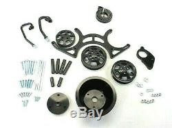 Small Block Chevy 327 350 Serpentine Pulley/Bracket Kit Black BPE-8503B