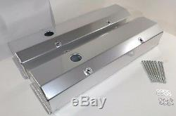 Small Block Chevy 350 TALL Fabricated ANODIZED ALUMINUM Valve Covers-LONG BOLTS