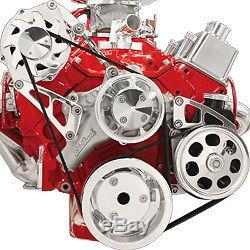 Small Block Chevy Alternator Power Steering Serpentine Kit Billet Aluminum set