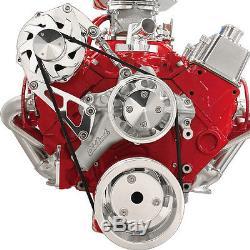 Small Block Chevy Alternator Serpentine Kit Billet Aluminum pulley set 350 327 4