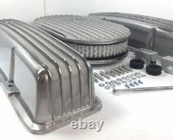 Small Block Chevy Aluminum Finned Tall Valve Covers With Finned 15'' Air Cleaner