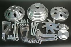 Small Block Chevy Aluminum Pulley & Bracket Kit w Power Steering Long Water Pump