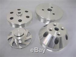 Small Block Chevy Aluminum Serpentine Pulley Kit Short Water Pump 350 DISPLAY