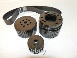 Small Block Chevy Billet Aluminum Gilmer Belt Drive Pulley Kit 305 350 LWP Black