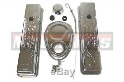 Small Block Chevy Chrome Flamed Engine Dress Up Kit SBC Stock Valve cover Timing