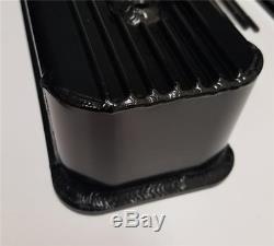 Small Block Chevy Fabricated BLACK Aluminum Valve Covers 350 Finned Center Bolt