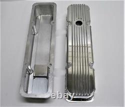 Small Block Chevy Fabricated Polished Aluminum Valve Covers SBC 283 350 Finned