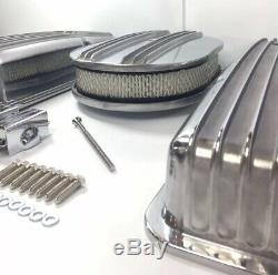 Small Block Chevy Finned Aluminum Short Valve Covers With Half Finned Air Cleaner