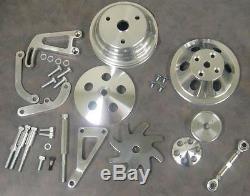 Small Block Chevy Long Water Pump Pulley Kit Alternator Power Steering Bracket