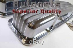 Small Block Chevy Polish Aluminum Valve Cover Finned short no without hole SBC