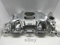 Small Block Chevy Polished Dual Plane Air Gap Aluminum Intake Manifold -82025