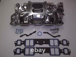 Small Block Chevy Polished Dual Plane Air Gap Intake Manifold/Gasket & Bolt Set