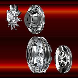 Small Block Chevy Pulleys Long Water Pump 4 pulley set 327 350 383 400 Chrome
