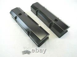 Small Block Chevy SBC 350 Fabricated Tall Valve Covers Black Anodized E41303BA