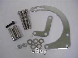 Small Block Chevy SBC Chrome Low Mount Alternator Bracket Short WP 283 350