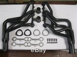 Small Block Chevy SBC V8 305 350 400 Long Tube Headers Black Coated Camaro Nova