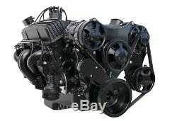 Small Block Chevy Serpentine Front Drive System Complete Kit BLACK