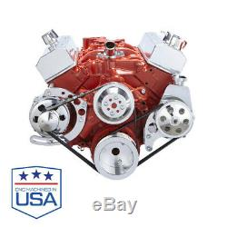 Small Block Chevy Serpentine Kit Power Steering SBC 283 327 350 with 8 Rib Belts