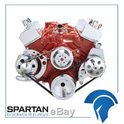 Small Block Chevy Serpentine Pulley Conversion Kit 283 327 350 PS ALT SBC Long