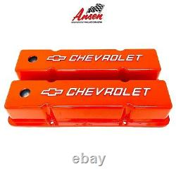 Small Block Chevy Tall ORANGE Valve Covers Chevrolet Bowtie Logo Ansen USA
