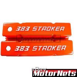 Small Block Chevy Tall Raise Bowtie 383 Stroker Orange Valve Covers SBC Aluminum
