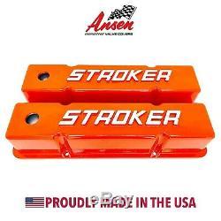 Small Block Chevy Tall Valve Covers- 383 STROKER Raised Letter Orange- Ansen USA